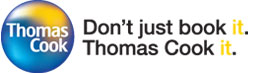 Thomas Cook logo and slogan: Don't just book it, Thomas Cook it.